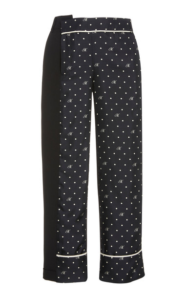 MONSE M Dot Contrast Wool-Blend Trousers in black