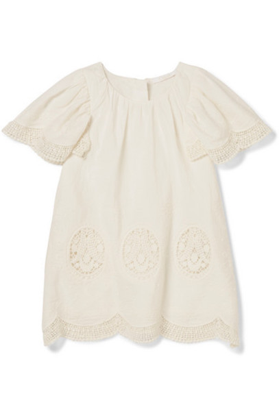 Chloé Kids - Months 6 - 18 Crocheted Cotton-voile Dress in white
