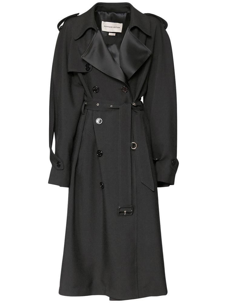 ALEXANDRE VAUTHIER Viscose Blend Textured Crepe Coat in black
