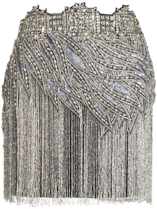 Amen crystal-embellished mini skirt in black