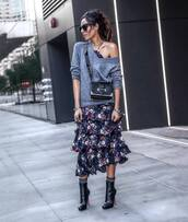 dress,floral dress,midi dress,layered,sweater,black boots,heel boots,ankle boots,socks,black bag,crossbody bag