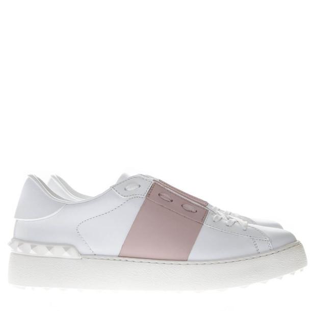 Valentino Garavani Open White & Rose Leather Sneakers