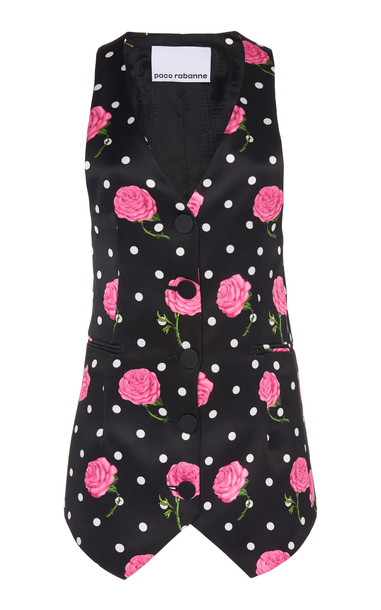 Paco Rabanne Floral-Print Satin Elongated Vest Size: 34