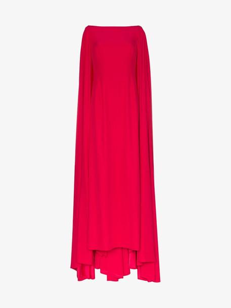 Carolina Herrera cape-style gown in red