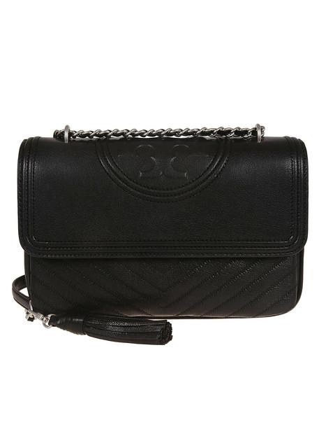 Tory Burch Fleming Distressed Flap Shoulder Bag in black