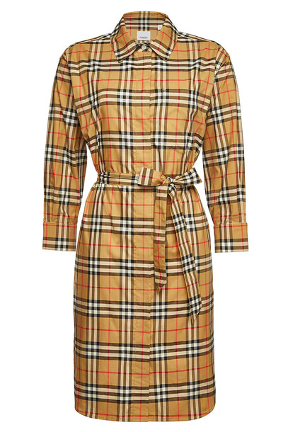 Burberry Isotto Checked Cotton Shirt Dress  in brown