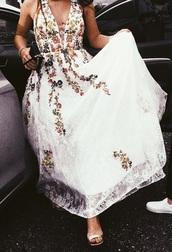 dress,lace dress,floral dress,white,colorful