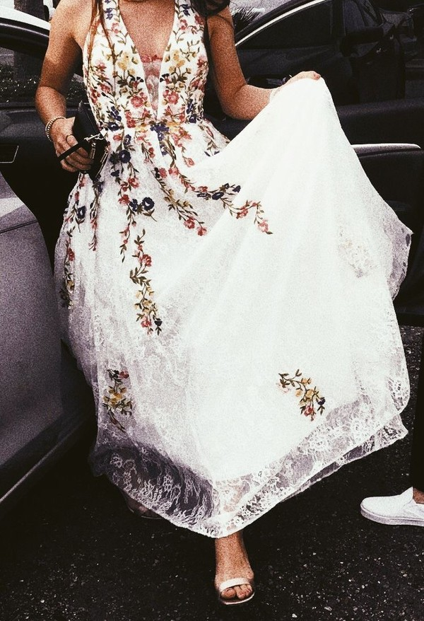 dress lace dress floral dress white colorful