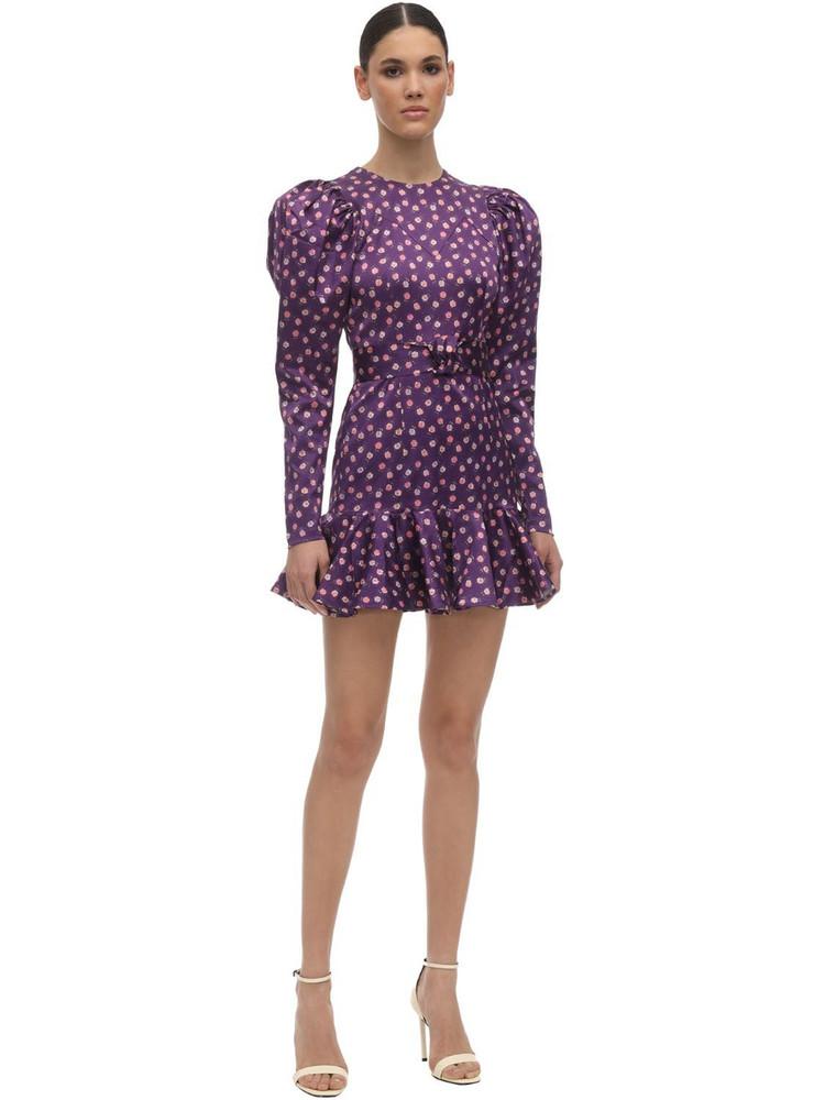 ROTATE Shelly Printed Satin Mini Dress in purple