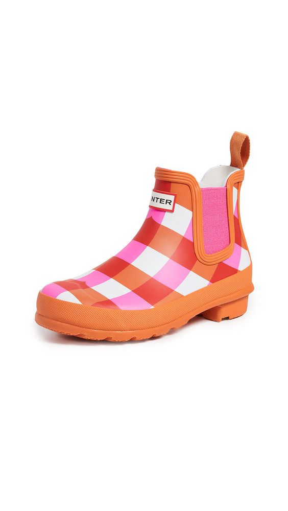 Hunter Boots Original Chelsea Gingham Boots in pink