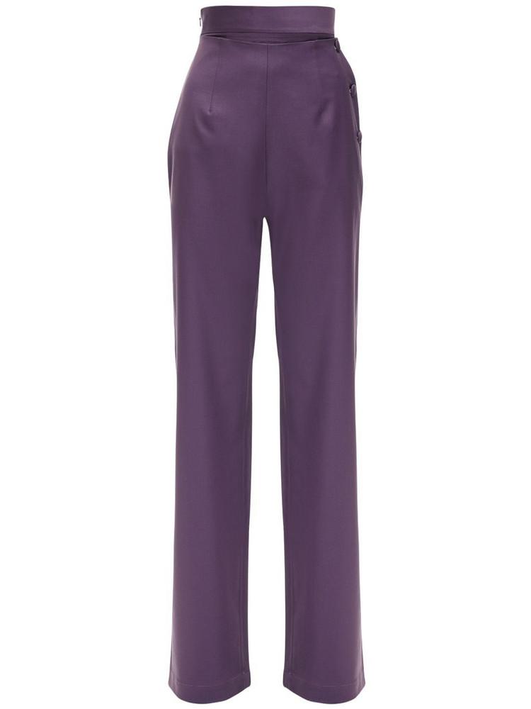 MATÉRIEL Cool Wool Wide Leg Pants W/ Side Buttons in purple
