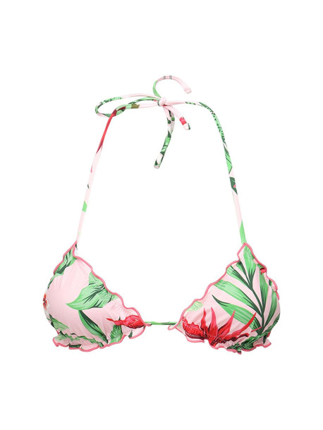 MC2 SAINT BARTH Sagittarius Printed Lycra Bikini Top in pink / multi