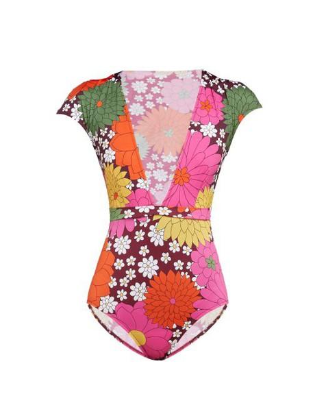 Dodo Bar Or - Esterika Floral Print Swimsuit - Womens - Burgundy Print