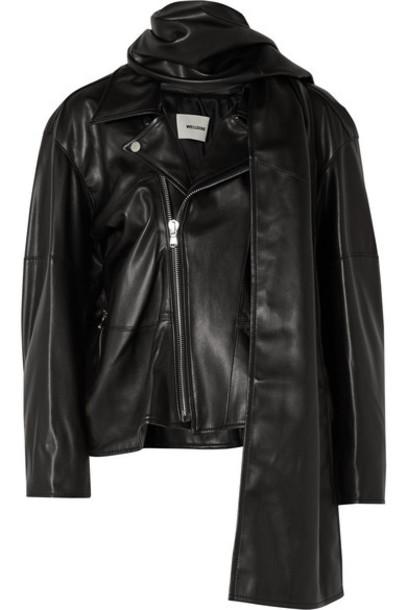 we11done - Faux Leather Biker Jacket - Black