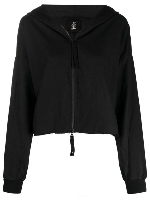 Thom Krom raw-edge crop hooded jacket in black