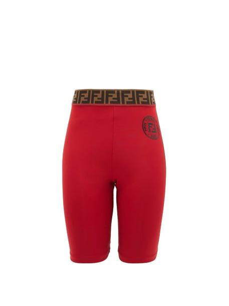 Fendi - Ff-jacquard Stretch-jersey Bike Shorts - Womens - Red