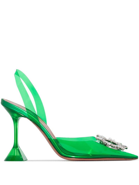 Amina Muaddi Begum 95mm crystal-embellished pumps in green