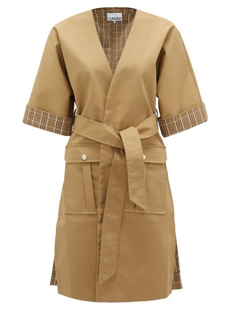 Ganni - Plaid-trim Wrap-front Cotton-blend Jacket - Womens - Beige