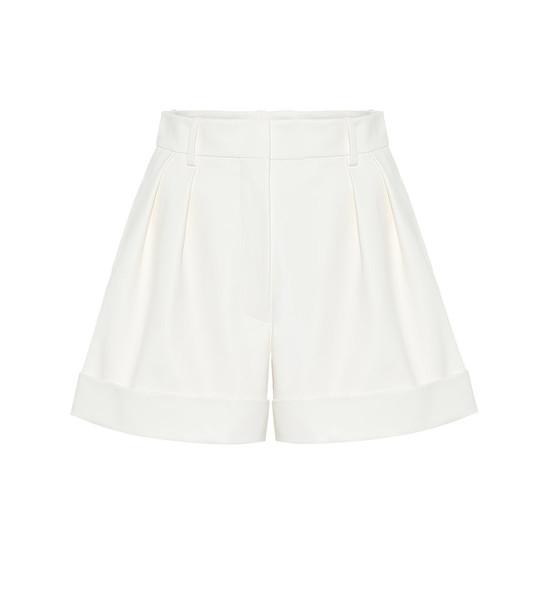 Valentino Leather high-rise shorts in white