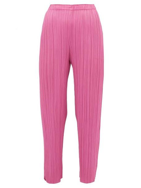 Pleats Please Issey Miyake - Split Cuff Pleated Trousers - Womens - Pink