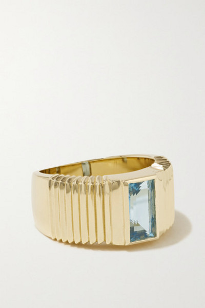 Retrouvaí Retrouvaí - Pleated Solitaire 14-karat Gold Aquamarine Ring