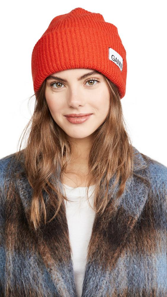 GANNI Knit Beanie Hat in red