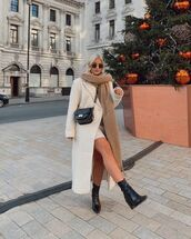 coat,long coat,mini dress,turtleneck dress,black boots,crossbody bag,scarf