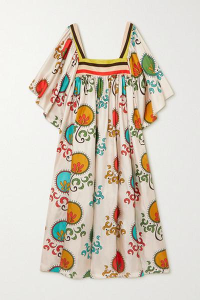 RIANNA + NINA RIANNA NINA - Loukoumi Pleated Printed Silk-twill Maxi Dress - Ecru