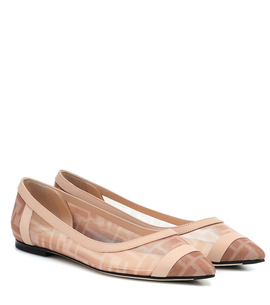 Fendi Colibrì mesh ballet flats in pink