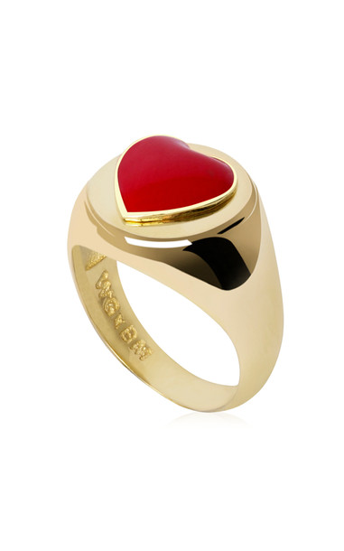 Wilhelmina Garcia Gold-Plated Heart Signet Ring in red