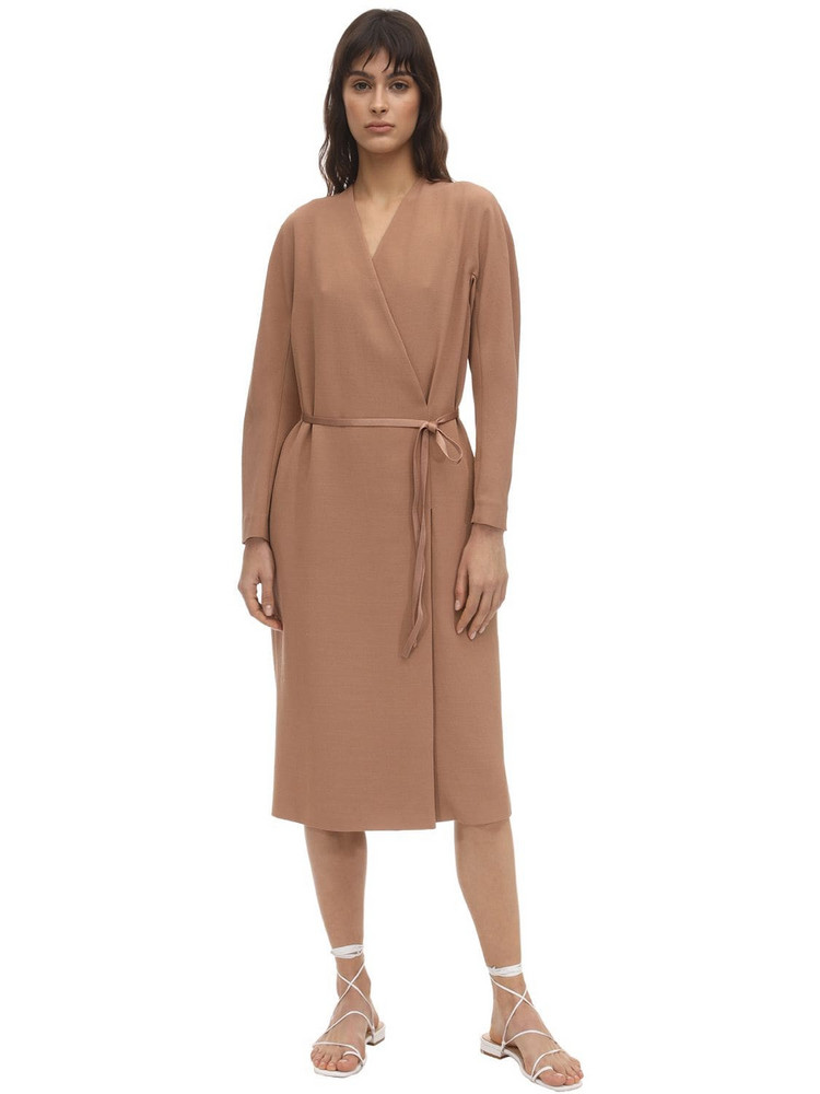 AGNONA Belted Wool Blend Dust Coat in pink