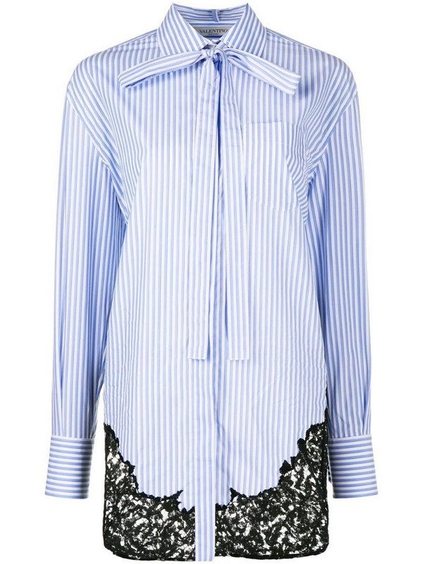 Valentino lace-insert pinstripe shirt in blue