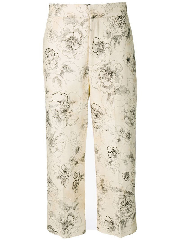 Erika Cavallini floral print cropped trousers in neutrals