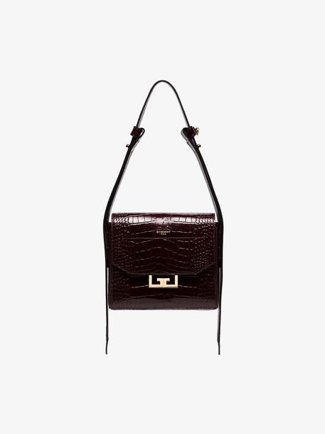 Givenchy burgundy eden small croc-embossed shoulder bag