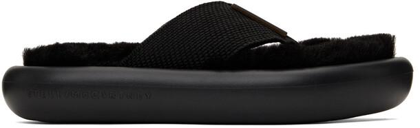 Stella McCartney Black Faux-Fur Air Slide Flip Flops