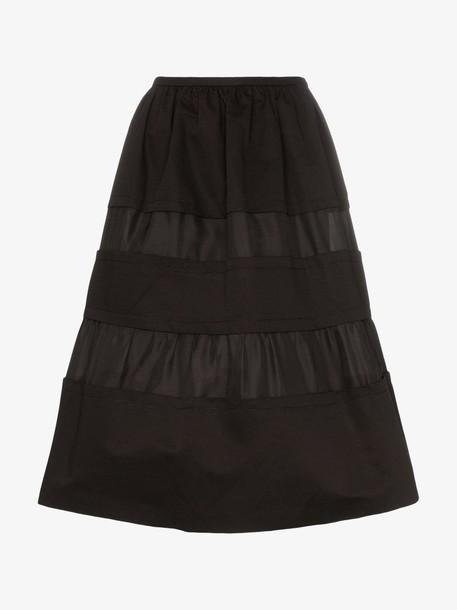 Marni Tonal stripe cotton and linen skirt in black