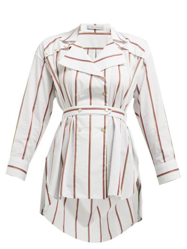 Palmer/harding Palmer//harding - Striped Tie Waist Cotton Shirt - Womens - White Multi