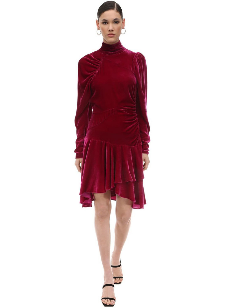 ROTATE Draped Velvet Mini Dress in fuchsia