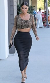 skirt,midi skirt,black,black skirt,animal print,kim kardashian,kardashians,celebrity,crop tops,top,bodycon skirt