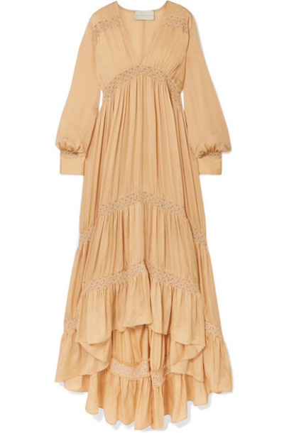ARJÉ ARJÉ - Phoebe Asymmetric Lace-trimmed Silk-satin Dress - Beige