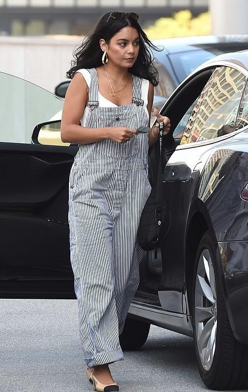 jumpsuit stripes striped pants vanessa hudgens celebrity top