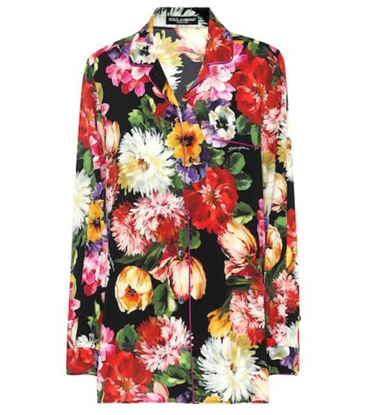 Dolce & Gabbana Floral stretch silk pajama top