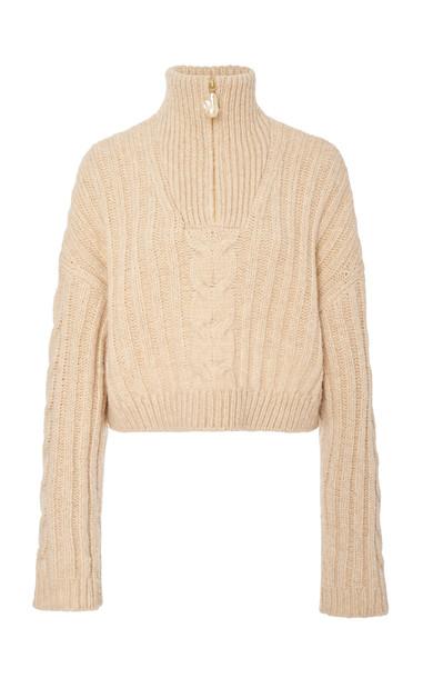 Nanushka Eria Cable-Knit Cropped Sweater in neutral