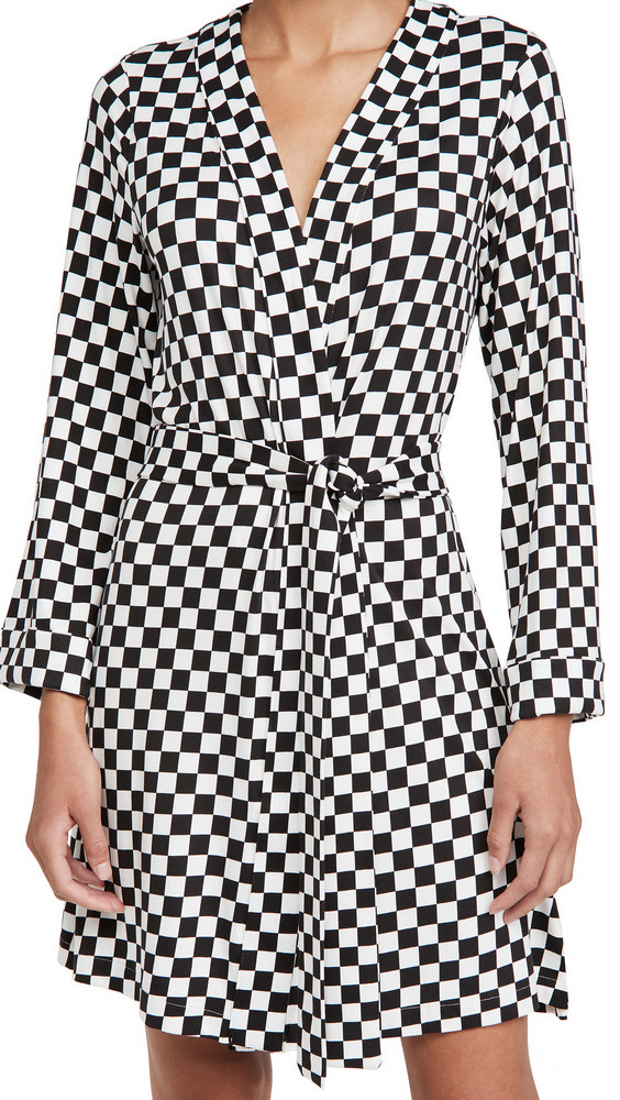 Mason Grey Classic Short Checker Robe in black
