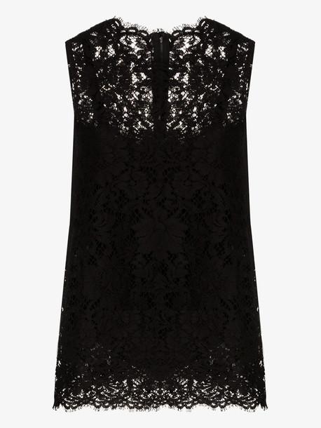 Dolce & Gabbana DGLACE TOP CN SLVLS in black