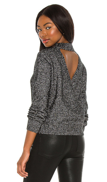 ASTR the Label Arabella Open Back Sweater in Black,Metallic Silver