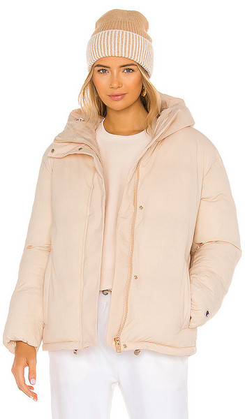 Champion Puffer Jacket in Pink in peach