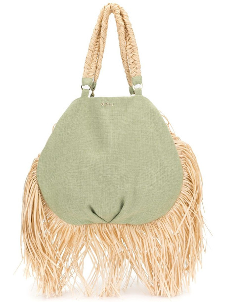 0711 Ani fringed tote bag in green