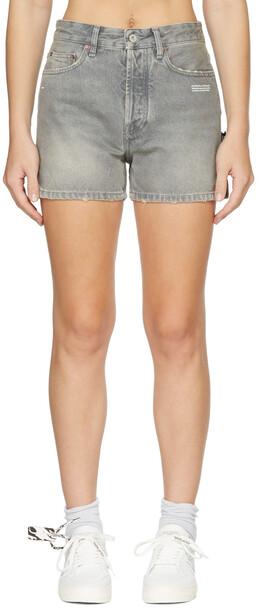 Off-White Grey Denim Straight Shorts