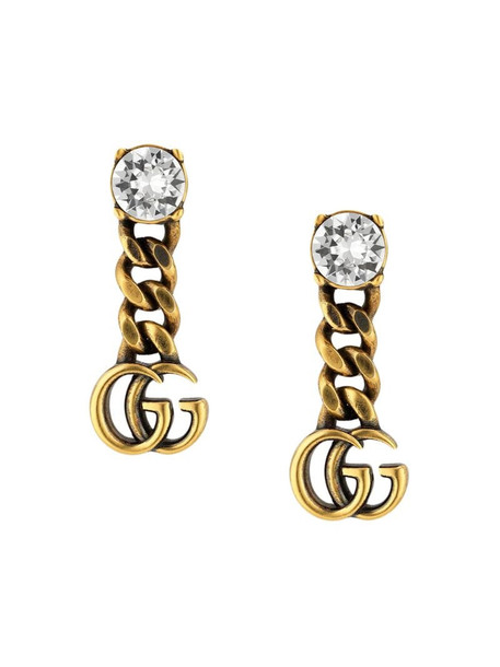 Gucci crystal-embellished Double G earrings in gold